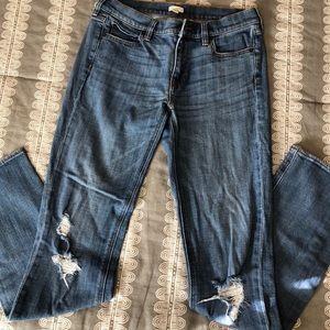 Distressed J. crew Straight leg Jeans